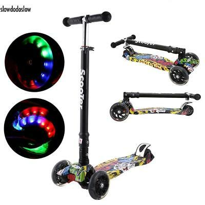 Kinder Scooter Klappbar 3-Rad mit LED Räder Tretroller Kickboards Funscooter Top
