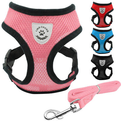 Small Dog Harness & Leash Set Breathable Air Mesh Pet Puppy Vest for Chihuahua