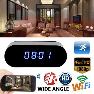 Wifi HD 1080P Hidden Spy Camera Clock Security Alarm DVR Cam Night Vision BT