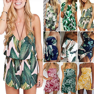 Womens Banana Leaves Playsuit Rompers Jumpsuit Shorts Sun Dress Beach Co-Ord Set