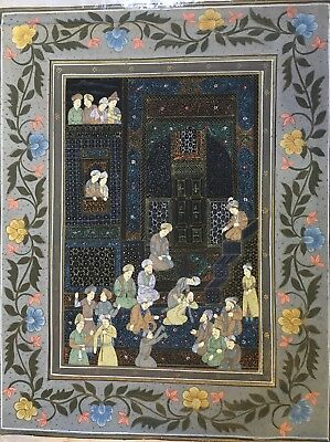 """Fine Quality Vintage Islamic Persian Painting on Silk 12.5"""" x 10"""""""