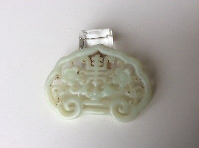 A Vintage Chinese Pierced Jade/Stone 'Bats & Flowers' plaque.
