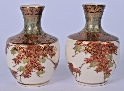 lovely pair japanese meiji period satsuma pottery vase signed 19th / early 20thc