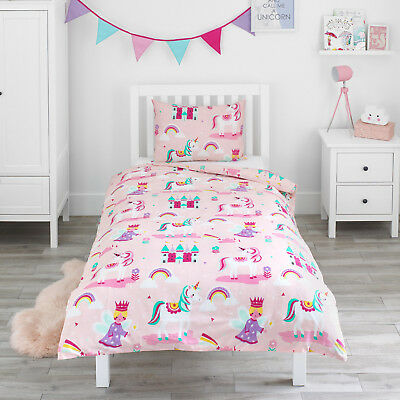 Magic Unicorn Fairy Princess Girls Kids Bedding Bed Duvet Cover & Pillowcase Set