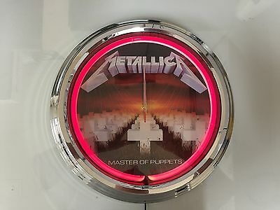 Metallica Neon Clock in Red Neon Master of Puppets