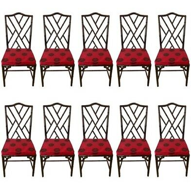 Mid Century Ten Matching Chinese Chippendale Rosewood Faux Bamboo Dining Chairs