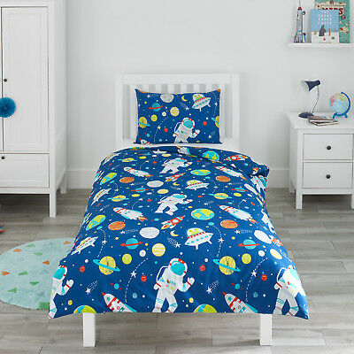 Space Rockets & Planets Childrens Boys Girl Bedding Duvet Cover & Pillowcase Set