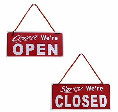 """Open / Closed Hanging Shop Sign Restaurant Opening Time - Red 4"""" x 10"""""""
