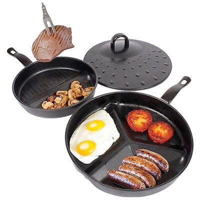 3 in 1 Divide Wonder Cooking Frying Pan Set Non-Stick Coated Skillet Section