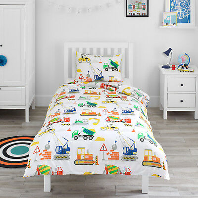 Construction Digger Vehicles Boys Childrens Bedding Duvet Cover & Pillowcase Set