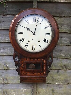 Large Antique Walnut Pendulum Chiming Wall Clock