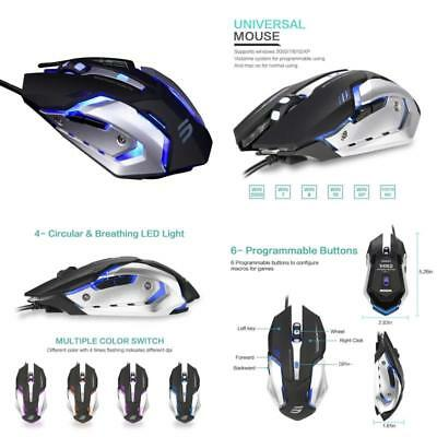 Lingyi Gaming Mouse, 6 Programmable Buttons, 4 Adjustable Dpi Levels, 4 Circular
