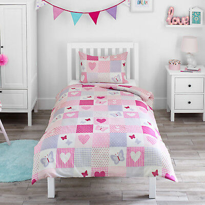 Hearts Butterflies Patchwork Girl Childrens Bedding Duvet Cover & Pillowcase Set