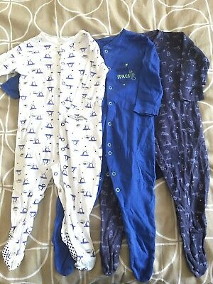 9-12 months boys Mothercare sleepsuits