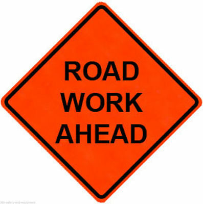 """Road Work Ahead 48"""" X 48"""" Vinyl Fluorescent Roll Up Sign With Ribs"""
