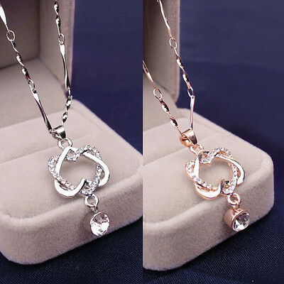 Silver Plated Fashion Women Double Heart Pendant Necklace Chain Jewelry NEW UK