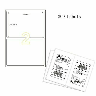 Round Corner 200 Shipping Blank Labels 8.5'' x 5.5'' A4 Half Sheet Self Adhesive