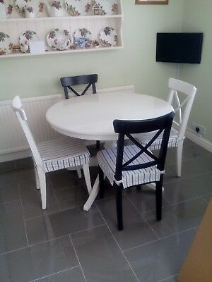 IKEA INGATORP Extendable Table White And INGOLF Chair Two White And Two  Black