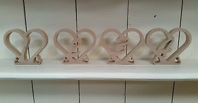 Freestanding Wooden Table Numbers 1 to 10 Heart shaped - Wedding - Craft - MDF