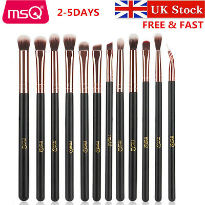 UK MSQ 12pcs Eyebrow Blending Make up Brush Angled Eyeliner Eyeshadow Brow Tool