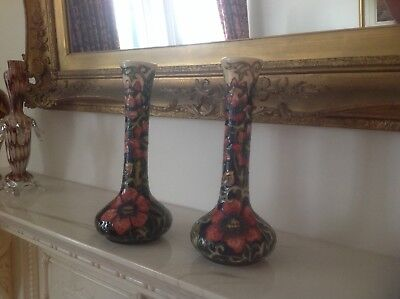 Pair of Moorcroft Vases Pheasant's Eye Design Perfect Condition Year 2000