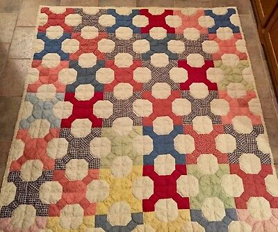 Charming Vintage Antique Feed Sack Hand Sewn MONKEY WRENCH TWIN Quilt~EXC!