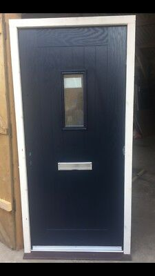 DARK BLUE COMPOSITE Cottage Style Front Door In Treated Timber Frame ...