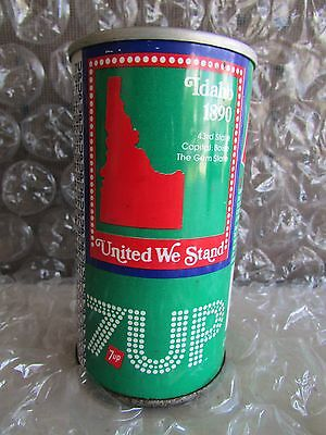 Vintage 7 UP Flat Top Steel Soda Can -  Idaho 1890 43rd State United We Stand