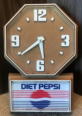 Operational Vintage Diet Pepsi Advertising Wall Clock Faux Wood