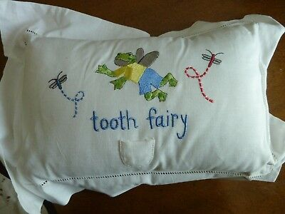 Tooth Fairy Pillow White with Angel Frog and Dragonflies Brand New, No Tags