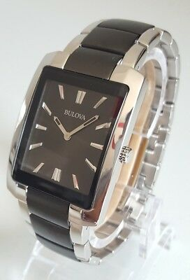 Bulova Classic 98A117 Men's 35mm Stainless Steel + Black Watch *SHIPS FREE*