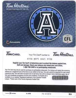 Gift Card: Tim Hortons (Canada) 2018, CFL Toronto Argos FD61810, new issue!