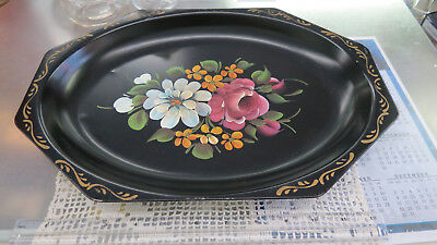 Nashco Products Handpainted Toll Tray - black oval w/flowers approx 12 inches