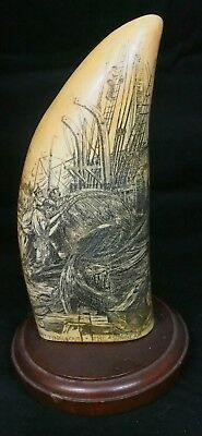 Scrimshaw Whale Tooth Replica  - Resin   Height: 8-1/4""