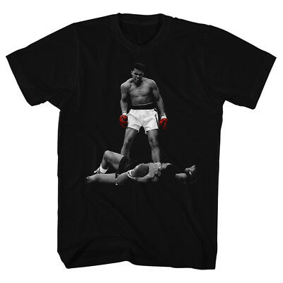 Muhammad Ali Tall T-Shirt Red Gloves Over Liston Black Tee