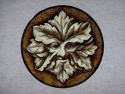 Beautiful Stained glass.GREEN MAN.Hand painted.Kiln fired.Diameter -170mm.