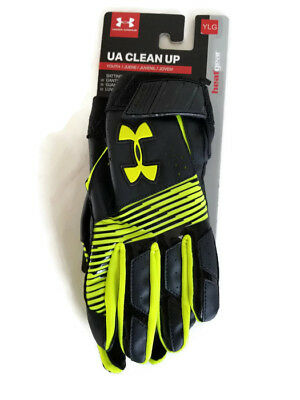 Under Armour Batting Gloves Youth Large Clean Up Black Neon Heatgear Leather