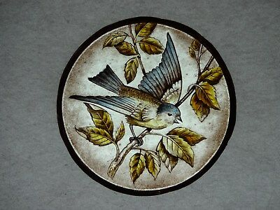 Beautiful Stained glass.BIRD.Hand painted. Kiln fired.Diameter-150mm. Antiq.st.