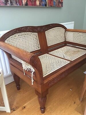Early 20th Century OAK Framed Bergere Sofa Jute Weaved Hall Seat Wooden Chair