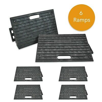 6X Rubber Ramps Kerb Threshold Cars Caravans Wheelchair Mobility Access Pass NEW