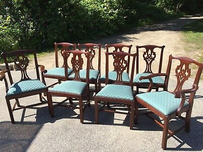 6 Henkel Harris Chippendale Dining Room Chairs Mahogany