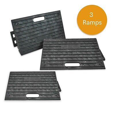 3X Rubber Ramps Kerb Threshold Cars Caravans Wheelchair Mobility Access Pass NEW