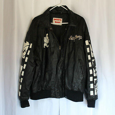 Vintage 2XL AMERICAN TOONS BETTY BOOP Black Leather Jacket, Embroidered