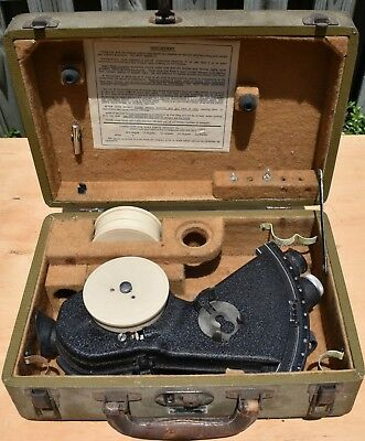 Antique US Navy Bubble Sextant, Link Aviation type A-12, with case, extra drums.