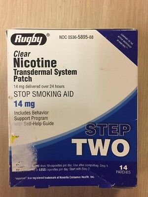 STEP 2 Rugby Stop Smoking Aid EXP 06/2020 Nicotine Transdermal 14 Patches