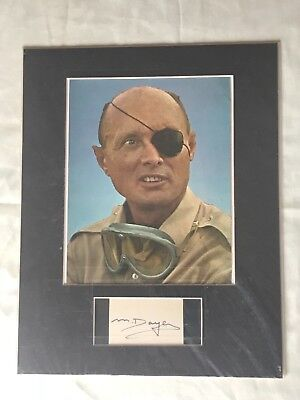 Moshe Dayan Autographed Card w/ 8x10 Color Photo - Matted