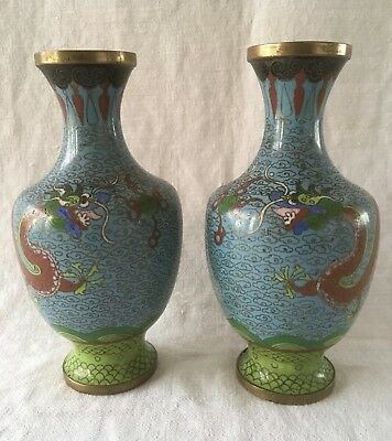 Vintage Pair of Chinese CLOISONNE VASES 2 Dragons on Aqua Blue 5 toes - H17 cm