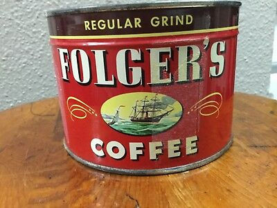 Vintage Folger's Coffee Can Full Sealed 1 LB Can 1946 Copyright W/Key