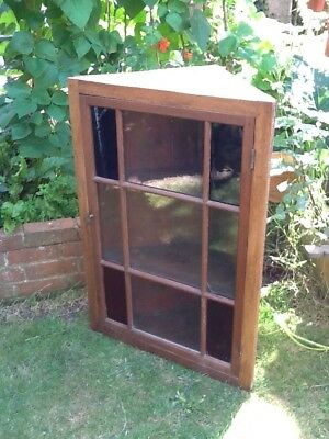 Old Victorian Pine Corner Cupboard - Stained Glass!