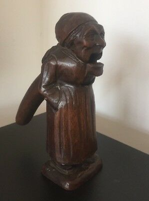 Antique German Carved Old Lady Black Forest Nut Cracker @ 1900